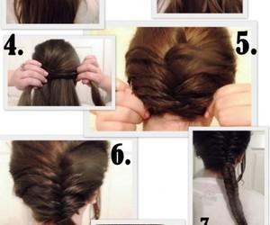 bun, hair, and fishtail image