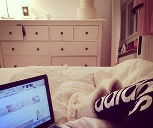 bed, bedroom, and laptop image