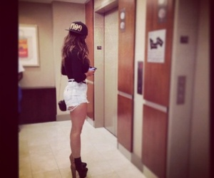 girl, heels, and shorts image