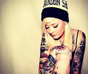 beanie, girl, and tattoo image
