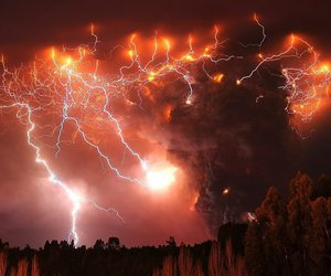 lightning, volcano, and storm image