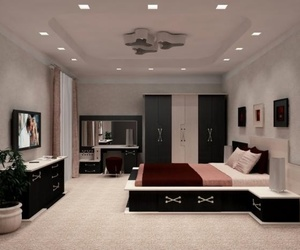 bedroom, black, and design image
