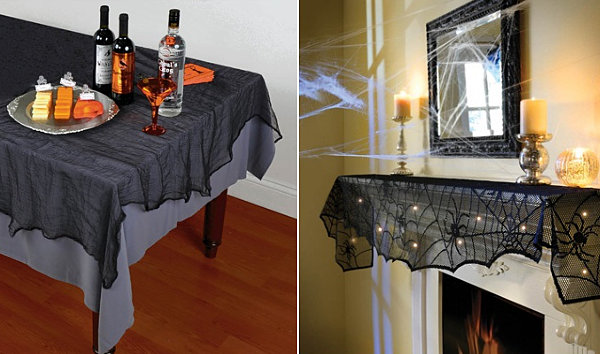 The Awesome Brilliant Halloween Tablecloth And Mantel Scarf With Wooden  Flooring Design Ideas