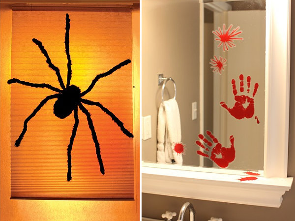 The Extraordinary Spooky Door And Window Decorations With Spider Wall  Design Ideas