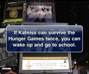 hunger games, alarm, and funny image