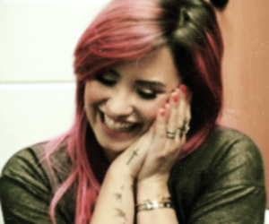 beautiful, pink hair, and demi lovato image