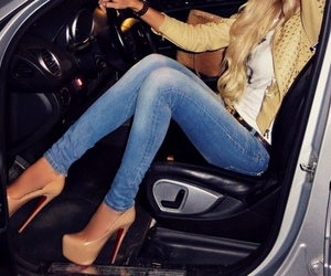 beautiful, blonde hair, and blue jeans image