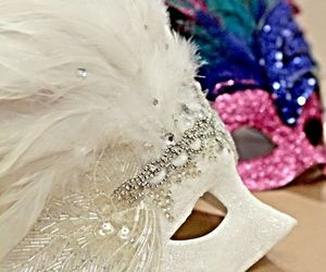 mask, pink, and white image