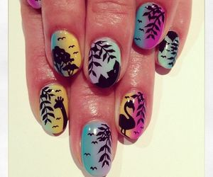 art, nails, and tropical image