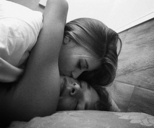 bed, black and white, and love image