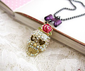 necklace, skull, and cute image