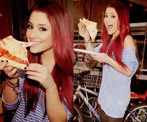 ariana grande, pizza, and red hair image