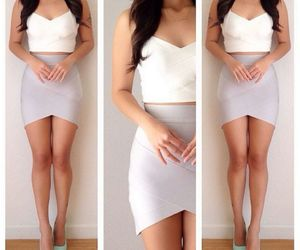 dressy, crop top, and skirt image