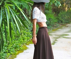 maxi skirt, pretty, and crop top image