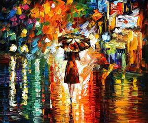 art, rain, and painting image