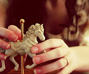 horse, girl, and carousel image