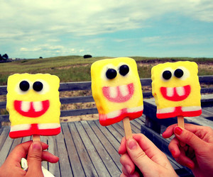 spongebob, ice cream, and popsicle image