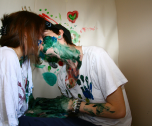 boy, paint, and couple image
