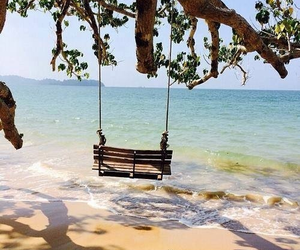 beach, beautiful, and swing image
