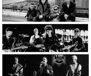 adam clayton, black and white, and bono image