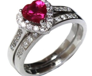silver heart ring, heart promise ring, and heart shaped promise ring image