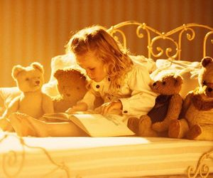 child, book, and bear image
