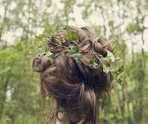 hair, forest, and leaves image