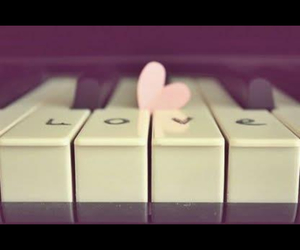 love, piano, and heart image