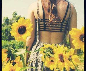 flowers, dress, and sunflower image