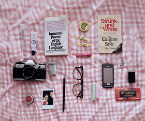 book, camera, and glasses image