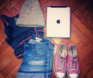 cap, converse, and pink image
