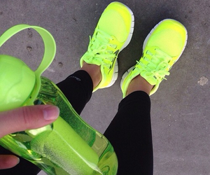 green, sneakers, and gym image