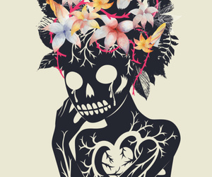 skeleton, art, and flowers image