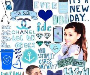ariana grande, blue, and overlay image