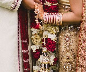 bangles, flowers, and indian bride image