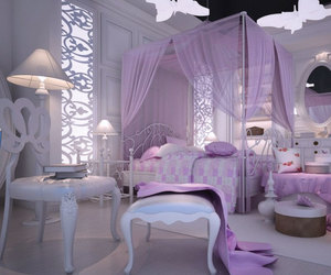 bedroom, purple, and decorating image