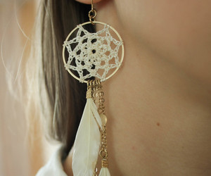 dreamcatcher, earring, and earrings image