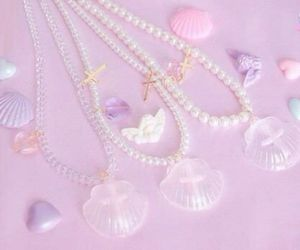 pastel, shell, and necklace image