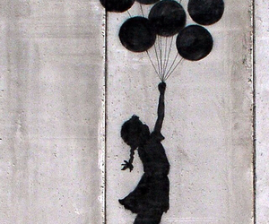 girl, balloons, and art image
