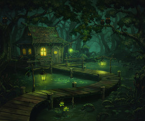 art, house, and swamp image