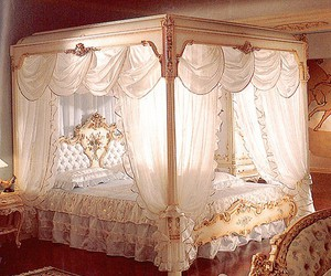 bed, bedroom, and luxury image