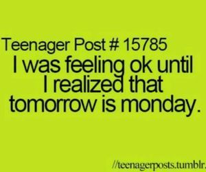 monday, school, and teenager post image