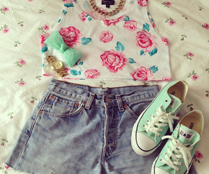 converse, top, and flower image