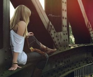 girl, blonde, and bridge image