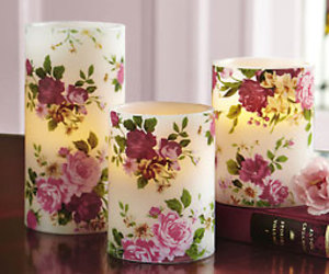 floral, candle, and lights image