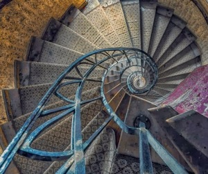 spiral stairs, staircase, and metal stairs image