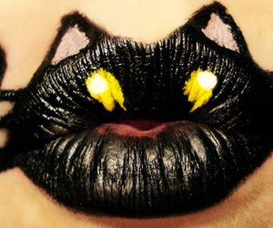 lips, cat, and black image