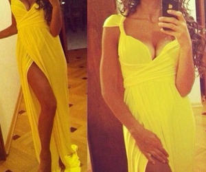 dress, sexy, and yellow image
