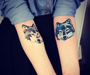 tattoo, wolf, and blue image