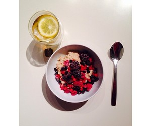 breakfast, fruit, and spoon image